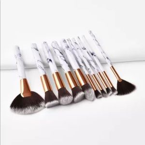 10 pc marble makeup brushes